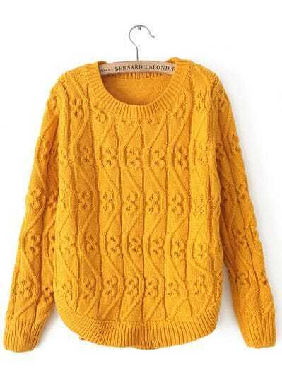 Yellow Round Neck Long Sleeve Cable Knit Sweater