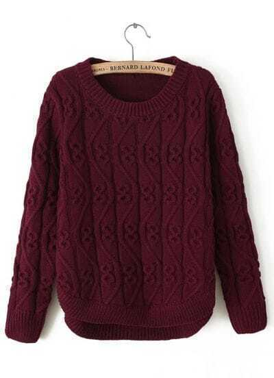 Red Round Neck Long Sleeve Cable Knit Sweater