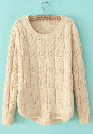 Beige Round Neck Long Sleeve Cable Knit Sweater