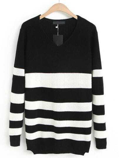 Black V Neck Long Sleeve Striped Sweater