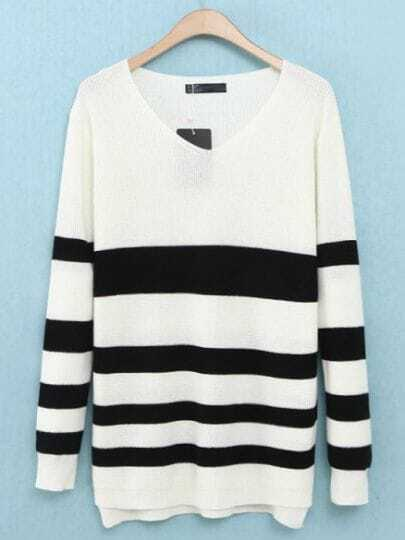 White V Neck Long Sleeve Striped Sweater