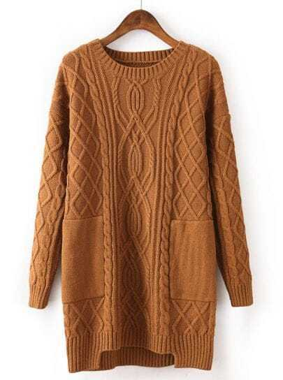 Coffee Long Sleeve Pockets Cable Knit Sweater
