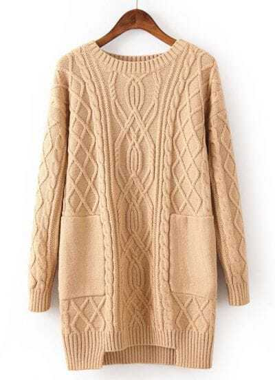 Beige Long Sleeve Pockets Cable Knit Sweater