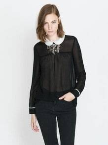 Black Contrast Collar Long Sleeve Chiffon Blouse