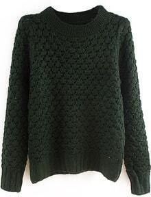 Green Stand Collar Pineapple Pattern Sweater