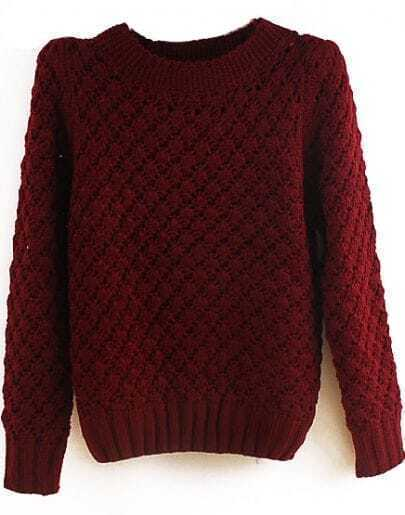 Wine Red Stand Collar Pineapple Pattern Sweater