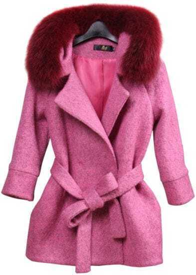 Purple Fox Fur Collar Long Sleeve Belt Woolen Coat
