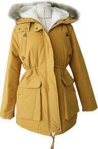Yellow Hooded Long Sleeve Pockets Parka