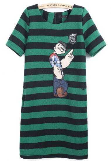 Black Green Striped Short Sleeve Popeye Print Dress
