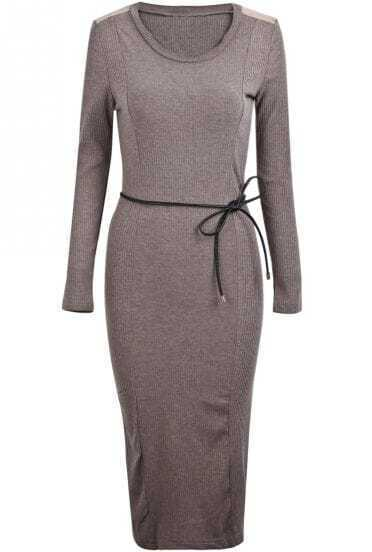 Khaki Long Sleeve Belt Simple Design Dress