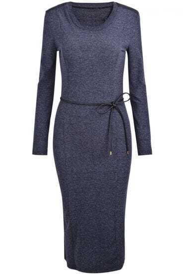 Grey Long Sleeve Belt Simple Design Dress