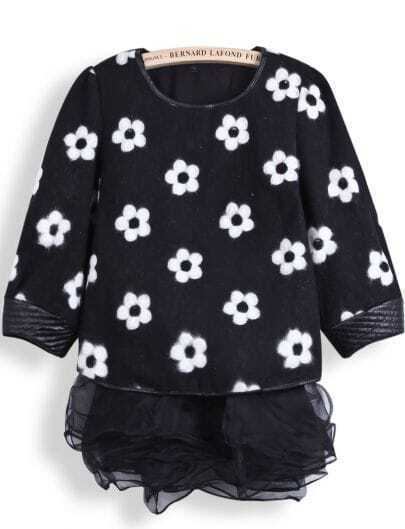 Black Long Sleeve Floral Top With Organza Dress