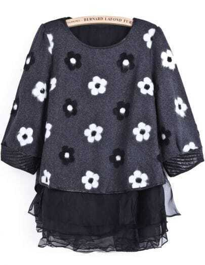 Grey Long Sleeve Floral Top With Organza Dress