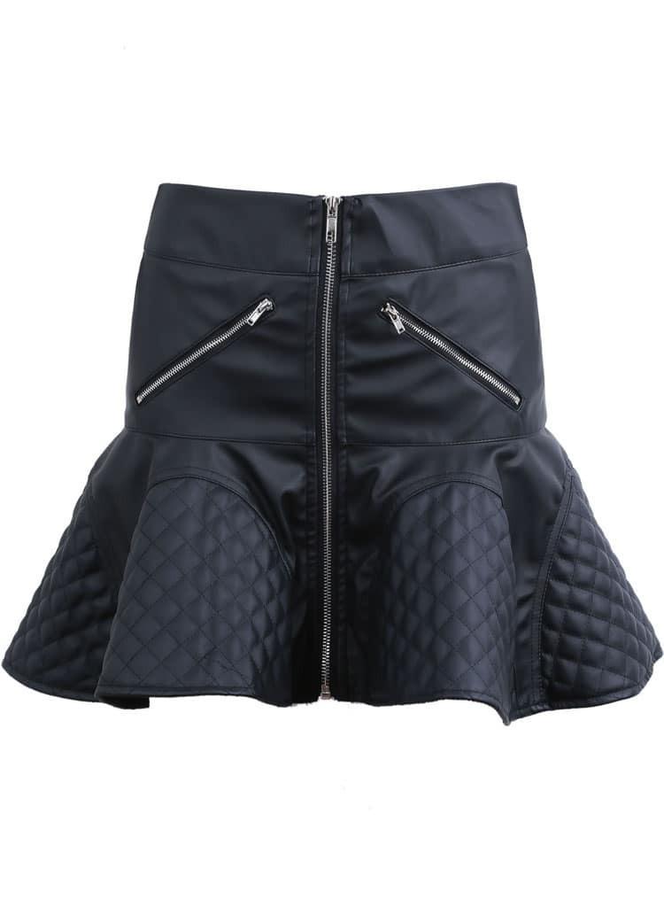 black zipper high waist ruffle pu leather skirt shein
