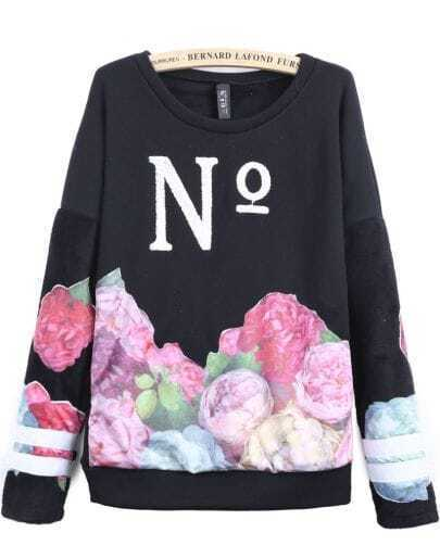 Black Long Sleeve No Embroidered Floral Sweatshirt