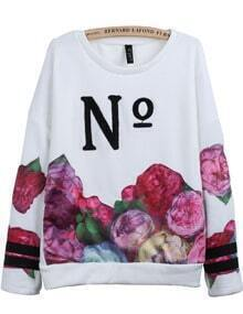 White Long Sleeve No Embroidered Floral Sweatshirt