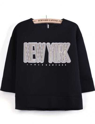 Black Long Sleeve Contrast Lace NEW YORK Print T-Shirt