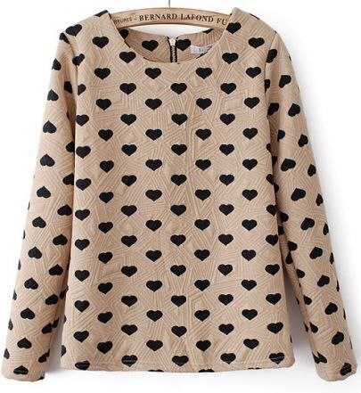 Beige Long Sleeve Heart Pattern Embossment Zip Sweatshirt