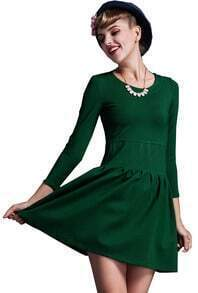 Green Three Quarter Length Sleeve Dress