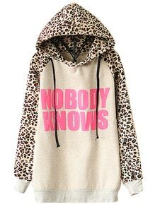 Light Grey NOBODY KNOWS Print Hooded Leopard Sweatshirt