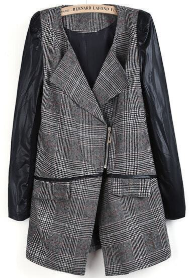 Grey Contrast PU Leather Long Sleeve Plaid Coat