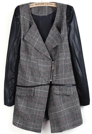 Grey Contrast PU Leather Long Sleeve Plaid Coat