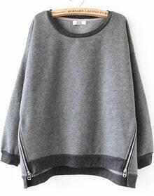 Grey Long Sleeve Side Zipper Sweatshirt