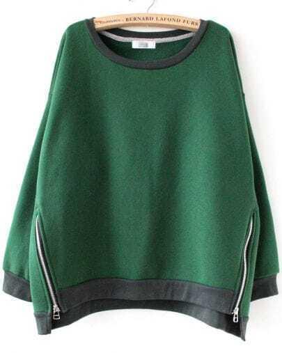 Green Long Sleeve Side Zipper Sweatshirt