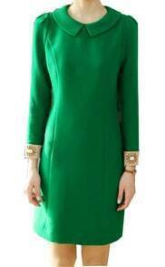 Green Long Sleeve Lapel Dress