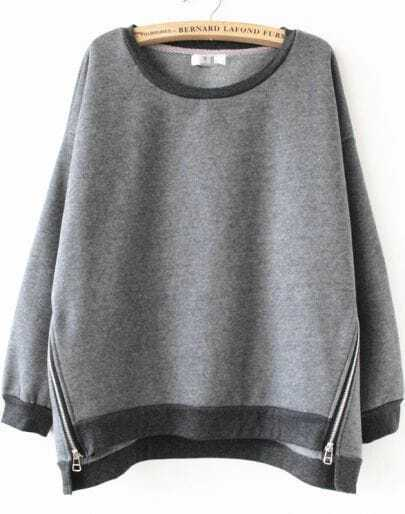 Grey Long Sleeve Side Zipper Sweatshirt