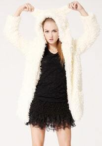 Beige Long Sleeve Bear Ear Fur Coat