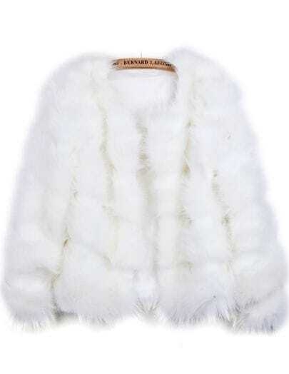 White Long Sleeve Crop Faux Fur Coat
