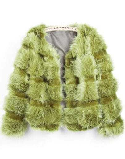 Green Long Sleeve Crop Faux Fur Coat