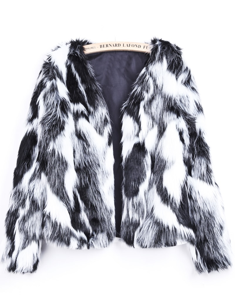 Black White Long Sleeve Crop Faux Fur Coat -SheIn(Sheinside)