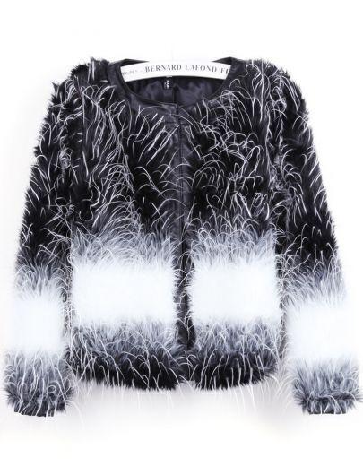 Black Contrast White Long Sleeve Crop Faux Fur Coat