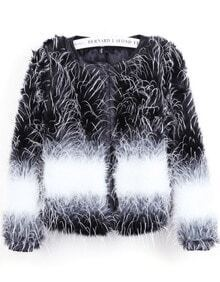 Black Contrast White Long Sleeve Crop Faux Fur Coat