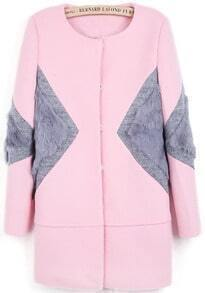 Pink Long Sleeve Contrast Rabbit Fur Woolen Coat