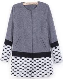 Grey Contrast White Long Sleeve Pockets Coat