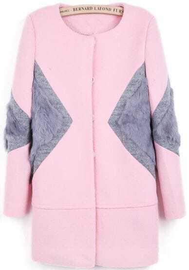 Pink Long Sleeve Contrast Rabbit Fur Woolen Coat