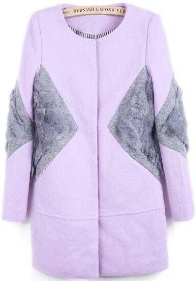 Purple Long Sleeve Contrast Rabbit Fur Woolen Coat