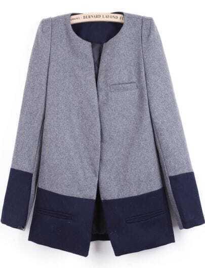 Grey Long Sleeve Contrast Navy Pockets Coat