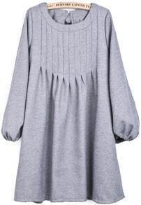 Light Grey Puff Sleeve Bow Pleated Dress