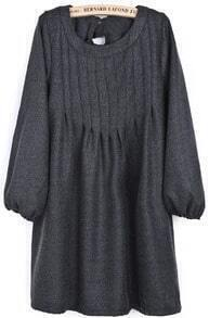 Dark Grey Puff Sleeve Bow Pleated Dress
