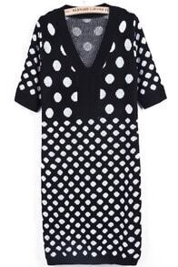 Black V Neck Short Sleeve Polka Dot Knit Dress