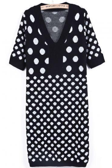 Black V Neck Short Sleeve Polka Dot Knit Dress