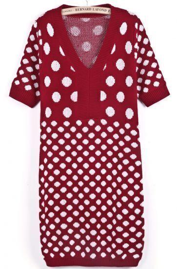 Wine Red V Neck Short Sleeve Polka Dot Knit Dress