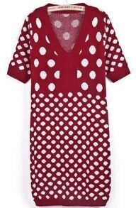 Wine Red V Neck Short Sleeve Polka Dot Knit Dress