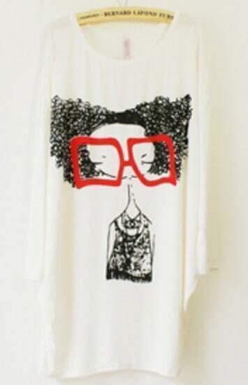 White Long Sleeve Glasses Girl Print Loose T-Shirt