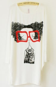 White Long Sleeve Glasses Girl Print Loose T-Shirt