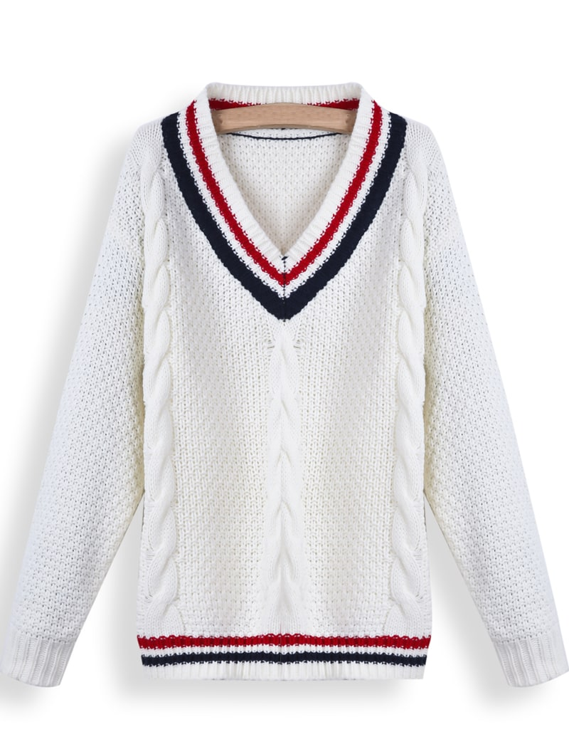 White V Neck Contrast Trims Cable Knit Sweater -SheIn(Sheinside)
